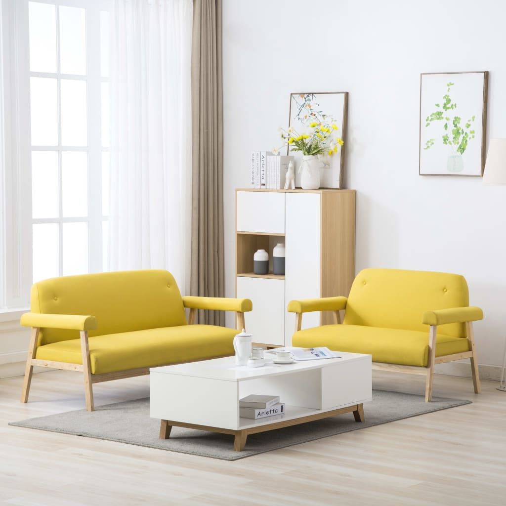 Canapé 3 places Jaune Tissu Design Confort