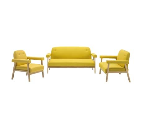 vidaXL Bankstel voor 6 personen stof geel 3-delig