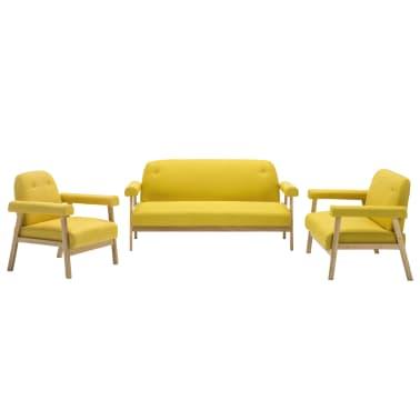 vidaXL Sedací souprava pro 6 osob 3 kusy textilní čalounění žluté[2/8]