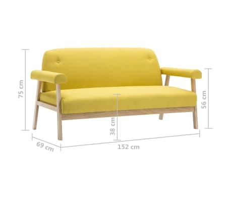 vidaXL Sedací souprava pro 6 osob 3 kusy textilní čalounění žluté[6/8]