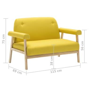 vidaXL Sedací souprava pro 6 osob 3 kusy textilní čalounění žluté[7/8]