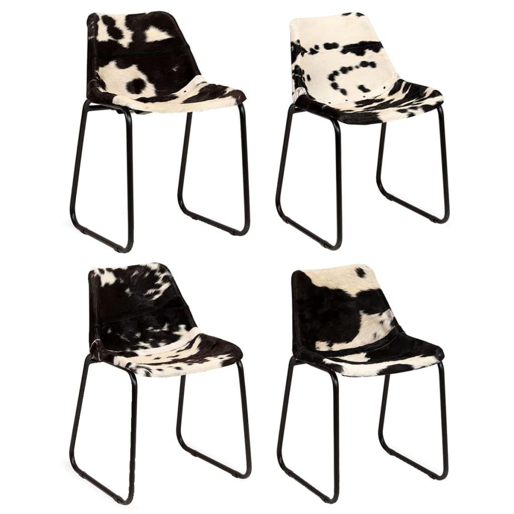 vidaXL Καρέκλες Τραπεζαρίας 4 τεμ. από Γνήσιο Δέρμα Κατσίκας