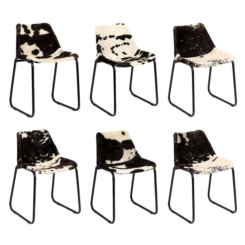 vidaXL Καρέκλες Τραπεζαρίας 6 τεμ. από Γνήσιο Δέρμα Κατσίκας