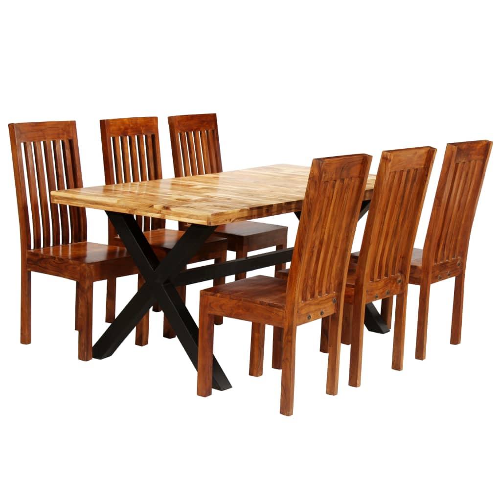 vidaXL 7-részes tömör akácfa és mangófa étkezőasztal