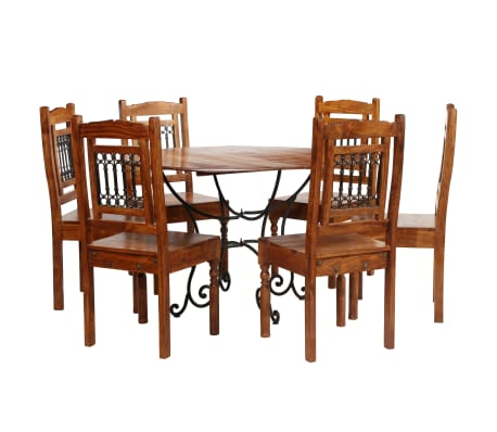 vidaXL Dining Table Set 7 Piece Solid Acacia Wood with Sheesham Finish[1/13]