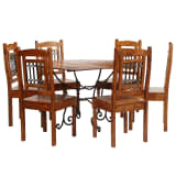 vidaXL Dining Table Set 7 Piece Solid Acacia Wood with Sheesham Finish