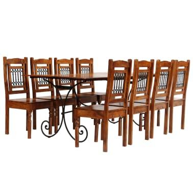 vidaXL Juego mesa comedor 9 piezas madera de acacia acabado ...