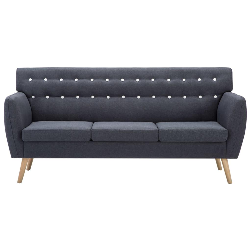 vidaXL Sofá de 3 plazas tapizado de tela 172x70x82 cm gris oscuro[3/8]