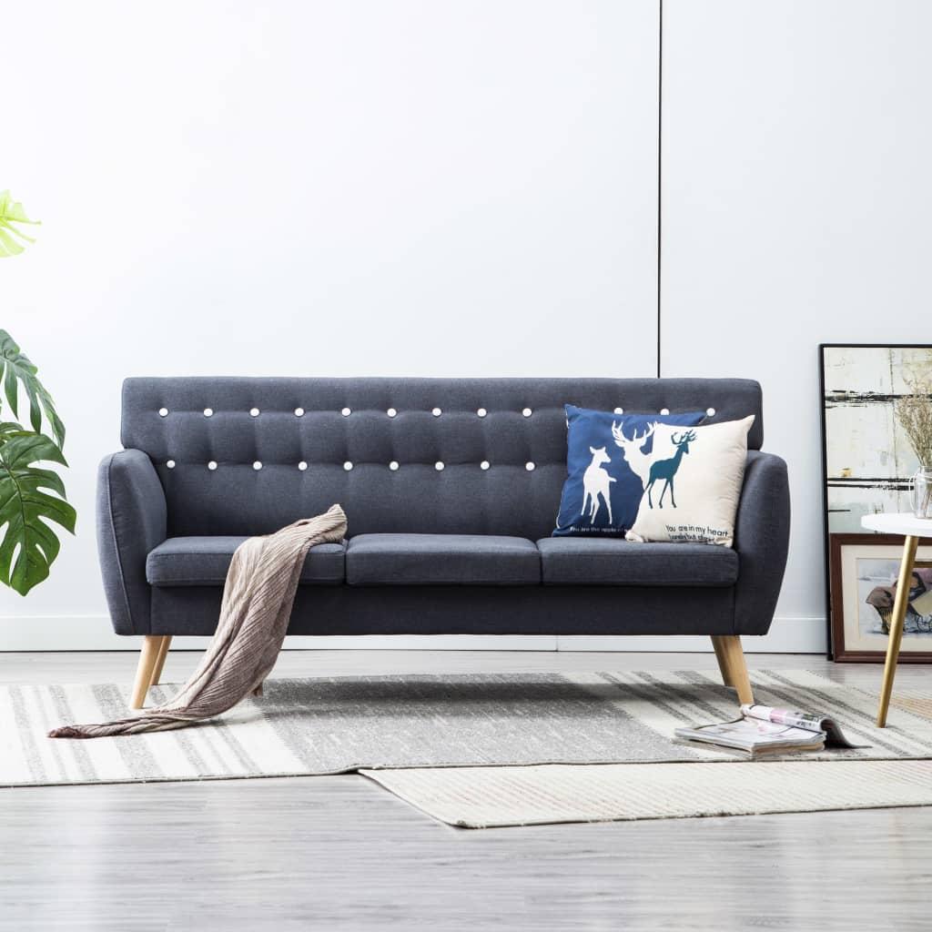 vidaXL 3-osobowa sofa tapicerowana tkaniną, 172x70x82 cm, ciemnoszara