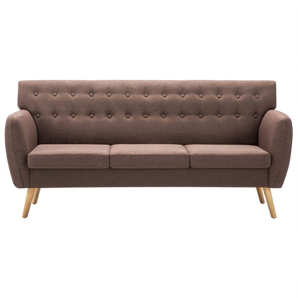 vidaXL Sofá de 3 plazas tapizado de tela 172x70x82 cm marrón[3/8]