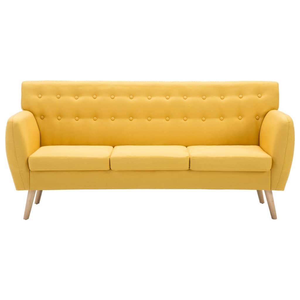 vidaXL Sofá de 3 plazas con tapizado de tela 172x70x82 cm amarillo[3/8]