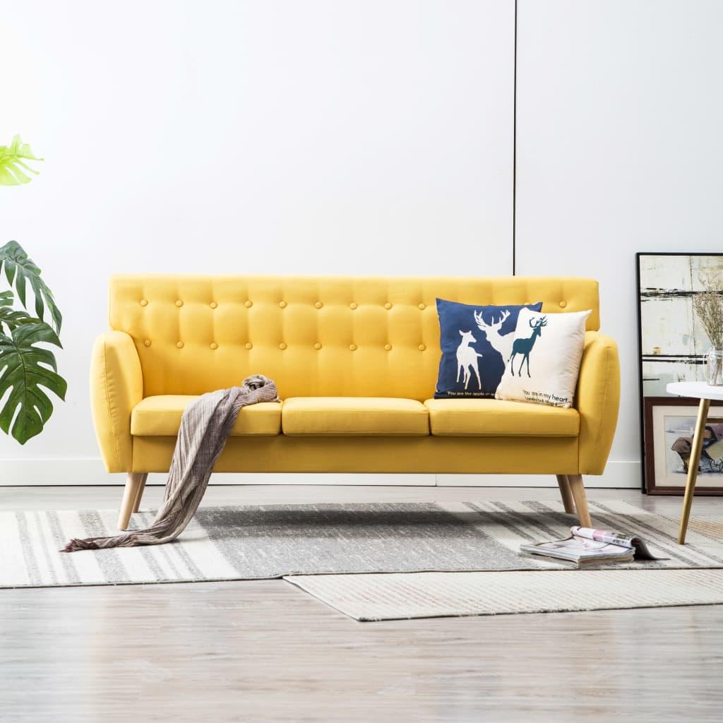 vidaXL 3-osobowa sofa tapicerowana tkaniną, 172x70x82 cm, żółta