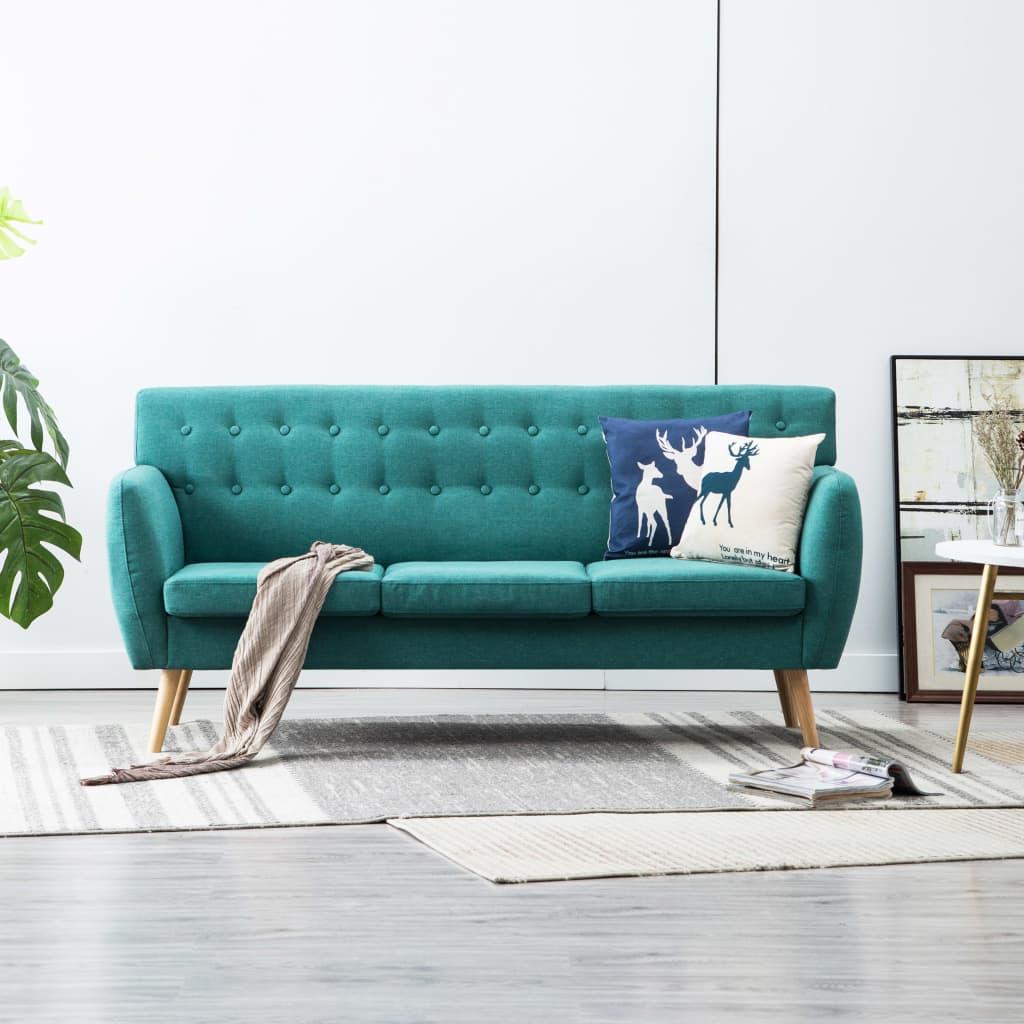 vidaXL Canapea 3 locuri, tapițerie textilă, 172x70x82 cm, verde
