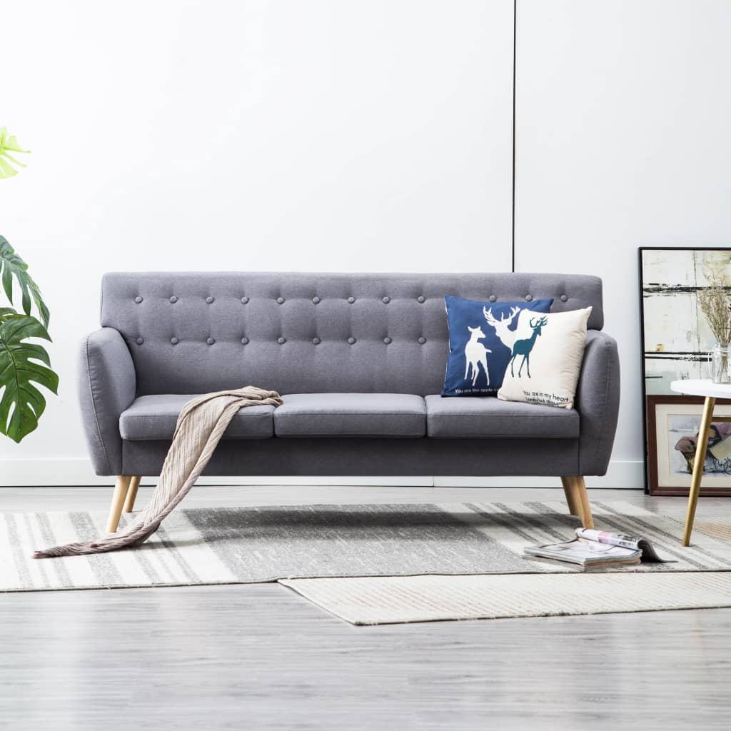 vidaXL 3-osobowa sofa tapicerowana tkaniną, 172x70x82 cm, jasnoszara