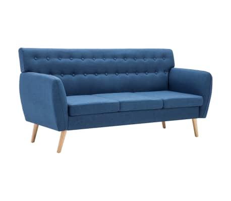 vidaXL Trivietė sofa, audinio apmušalas, 172x70x82cm, mėlyna