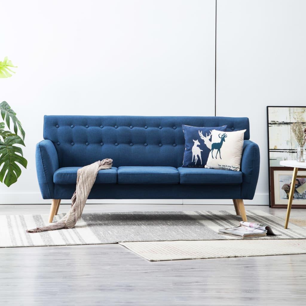 vidaXL 3-osobowa sofa tapicerowana tkaniną, 172x70x82 cm, niebieska