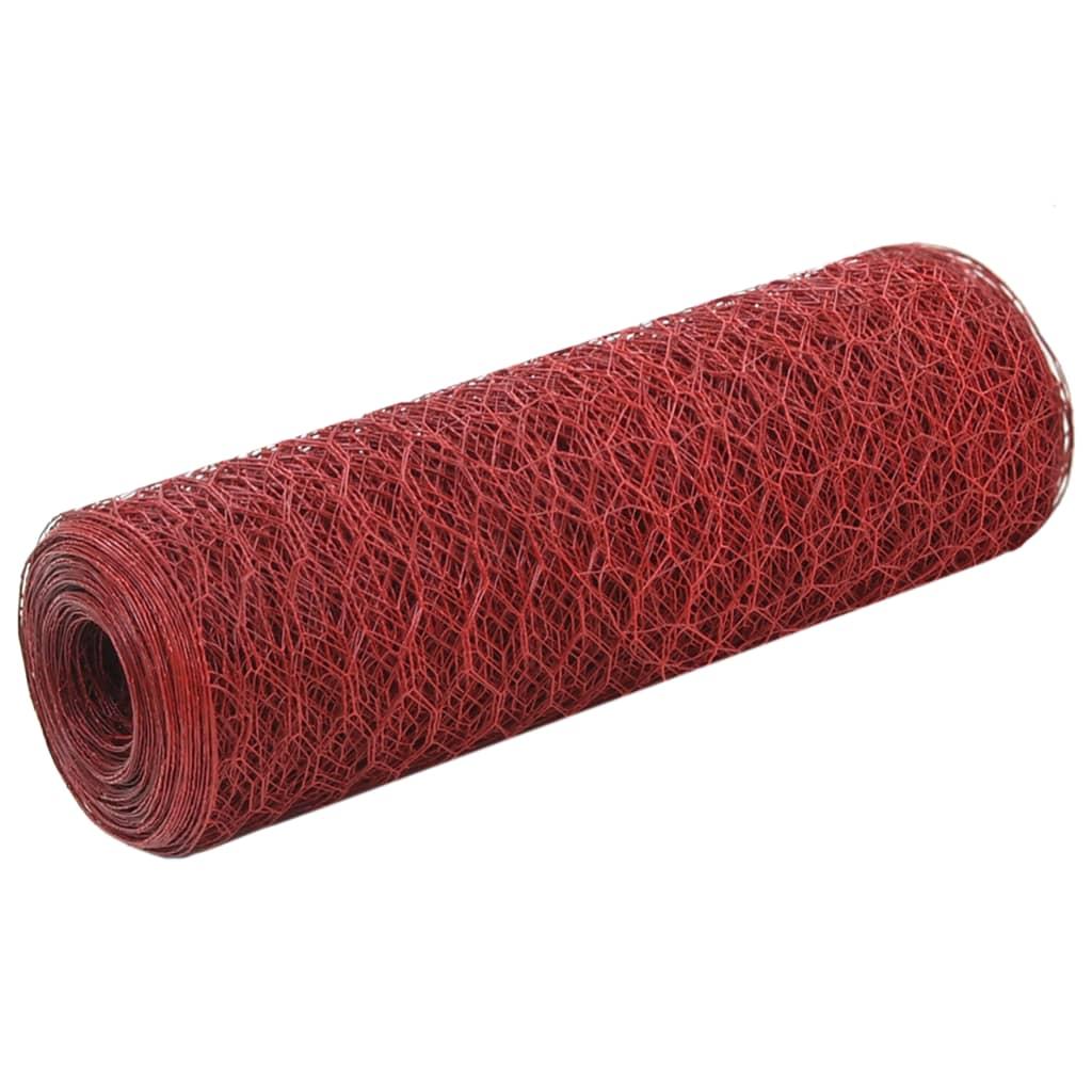 vidaXL Kippengaas 25x0,5 m staal met PVC coating rood