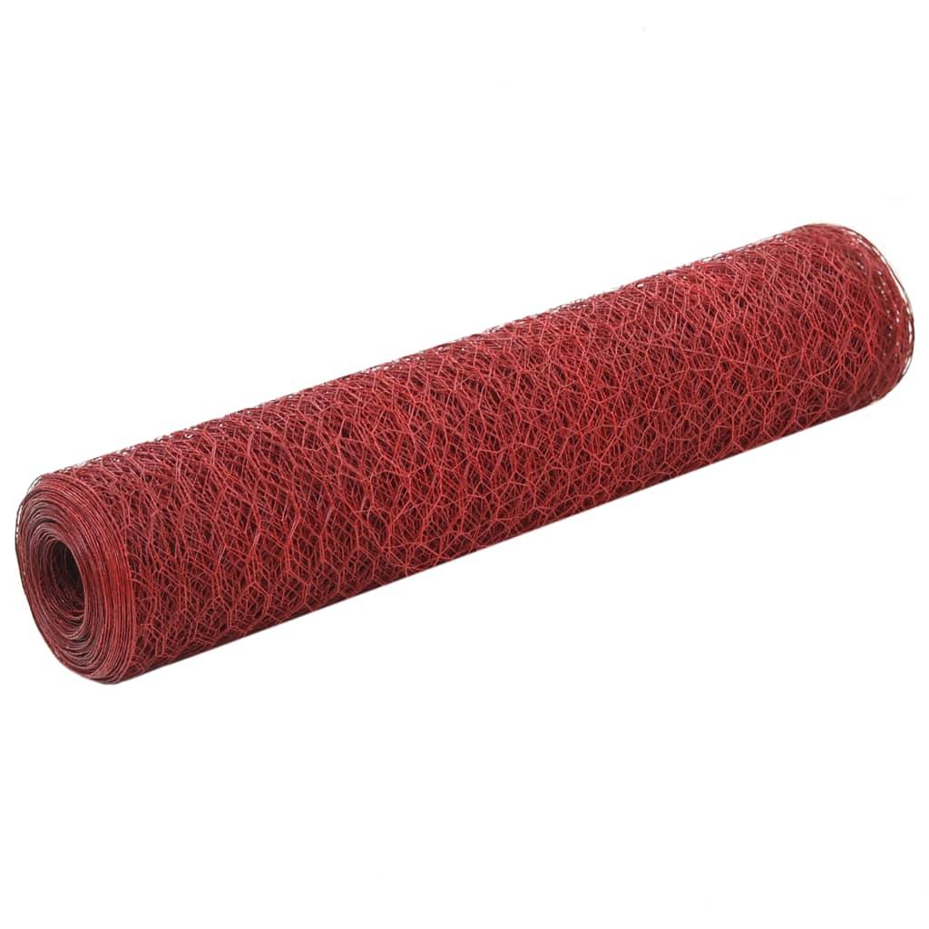 vidaXL Kippengaas 25x0,75 m staal met PVC coating rood