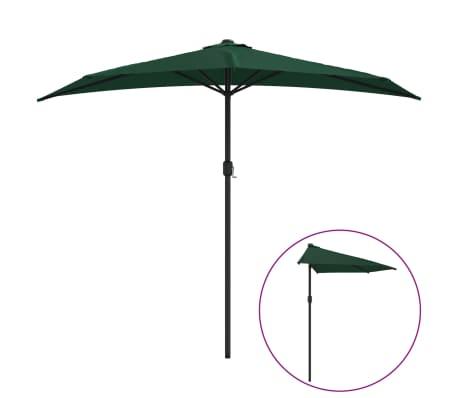 vidaXL Sombrilla de balcón semicircular palo aluminio verde 270x135cm