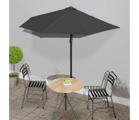 vidaXL Balkon-Sonnenschirm mit Alu-Mast Anthrazit 270×135 cm Halbrund[1/8]