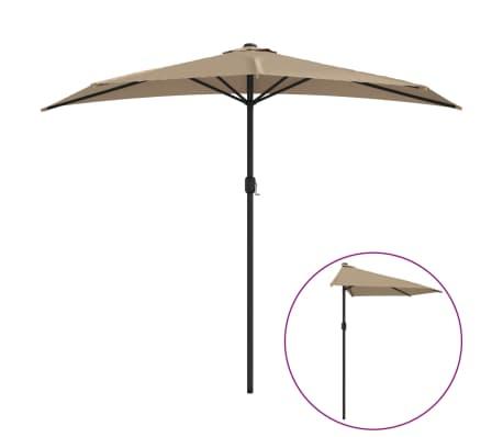 vidaXL Parasol de balcon avec mât en aluminium Taupe 270x135 cm Demi