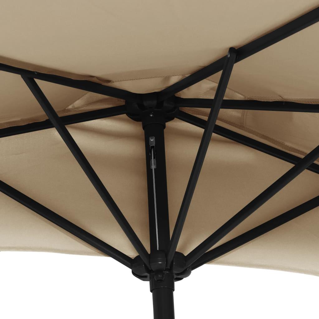 Balkonparasol half met aluminium paal 270x135 cm taupe