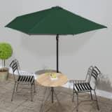 vidaXL Parasol de balcon avec mât en aluminium Vert 300x150 cm Demi