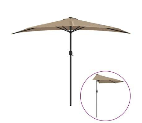 vidaXL Parasol de balcon avec mât en aluminium Taupe 300x150 cm Demi