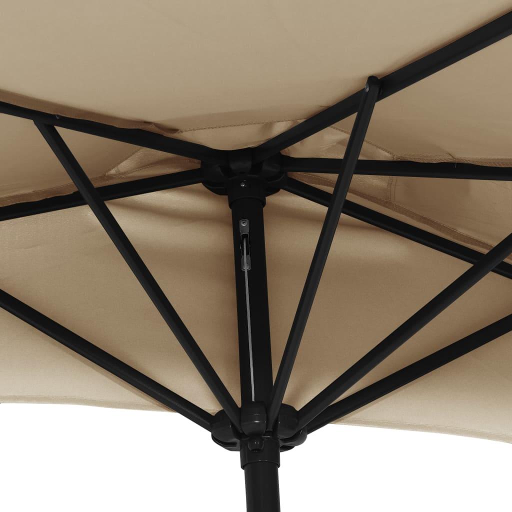 Balkonparasol half met aluminium paal 300x150 cm taupe