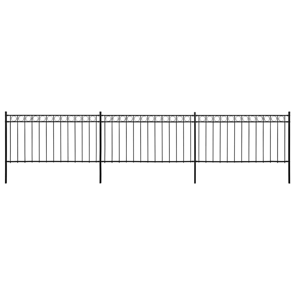 vidaXL Panouri de gard cu stâlpi, negru, 6x1,5 m, oțel vidaxl.ro