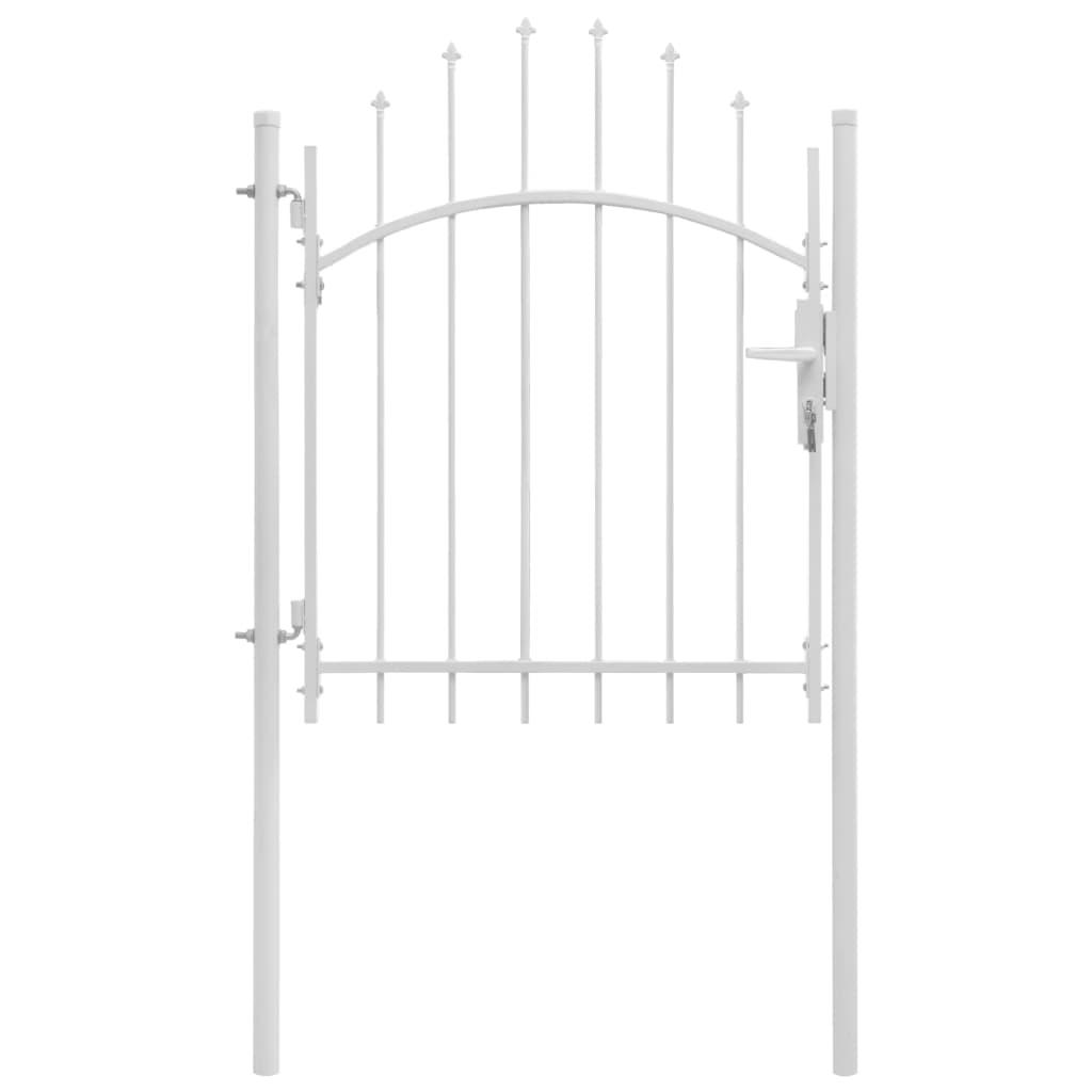 vidaXL Poartă de grădină, alb, 1 x 1,75 m, oțel vidaxl.ro