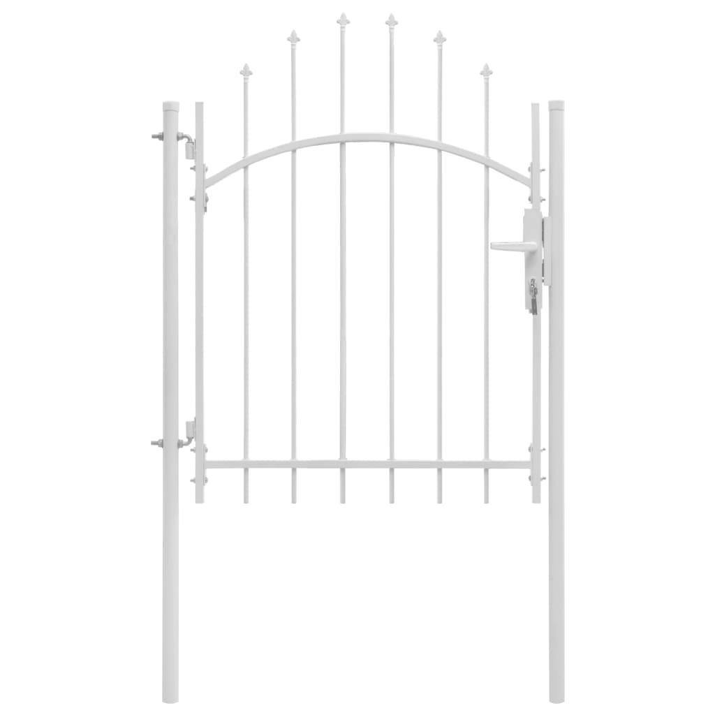 vidaXL Poartă de grădină, alb, 1 x 2 m, oțel poza 2021 vidaXL