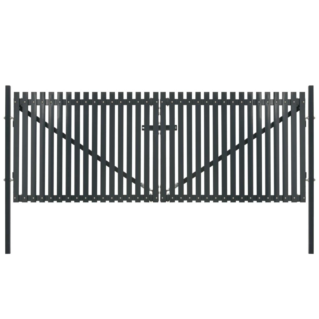 vidaXL Poartă de gard dublă, antracit, 400 x 245 cm, oțel vidaxl.ro