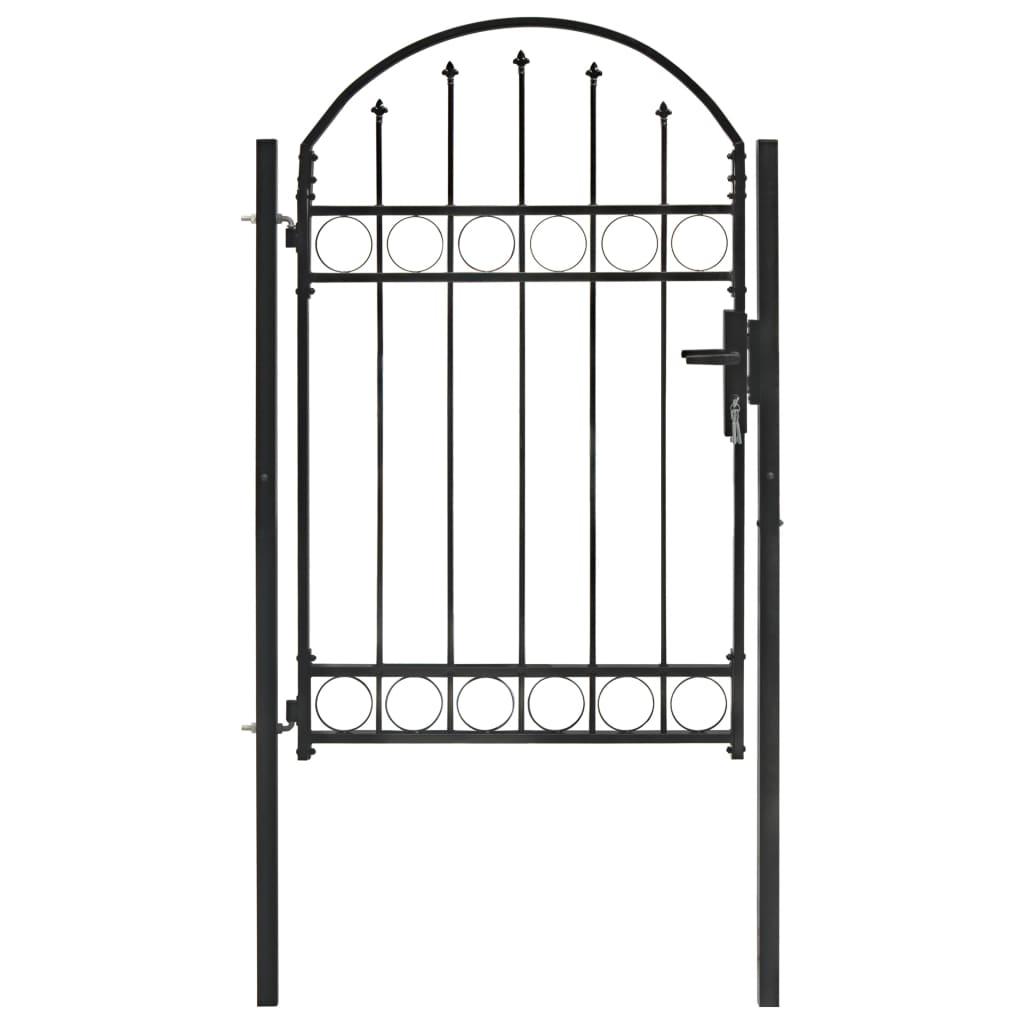vidaXL Poartă de gard cu arcadă, negru, 100 x 150 cm, oțel vidaxl.ro