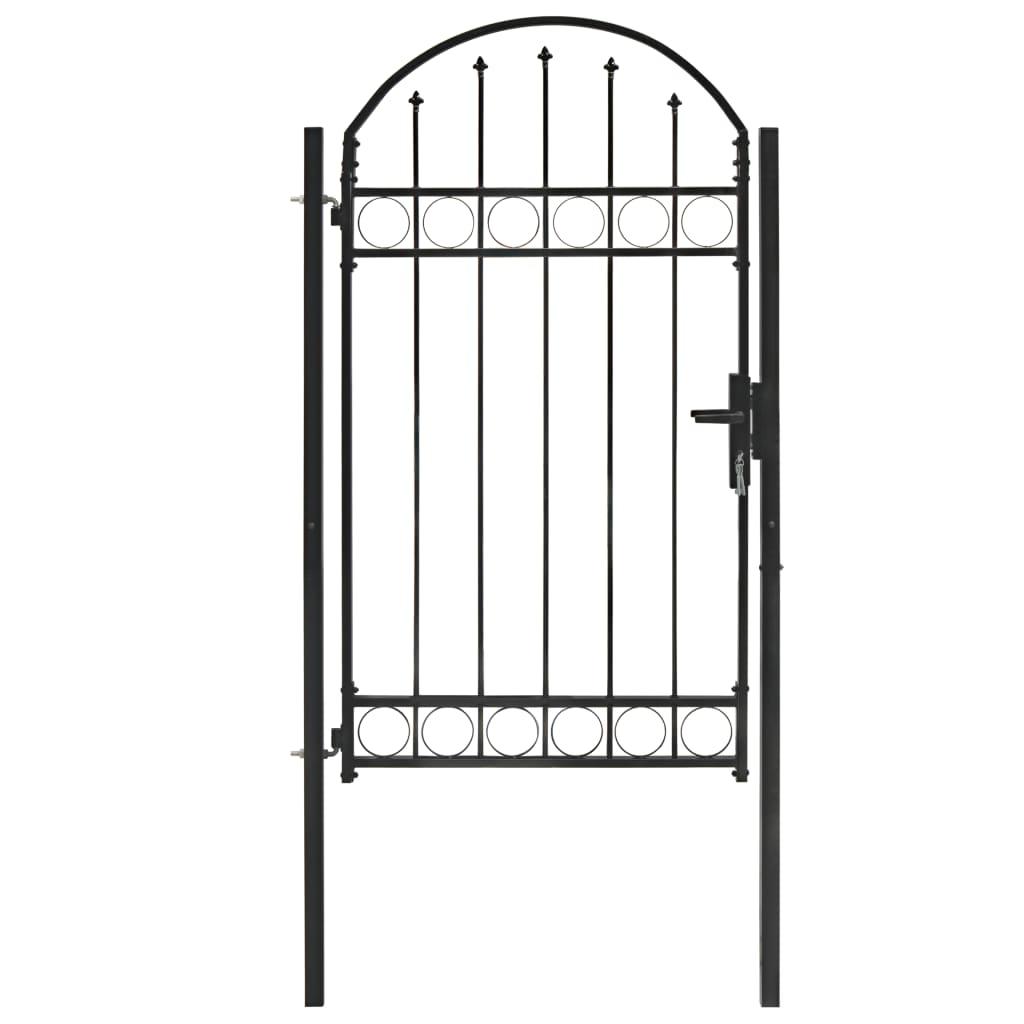 vidaXL Poartă de gard cu arcadă, negru, 100 x 175 cm, oțel vidaxl.ro