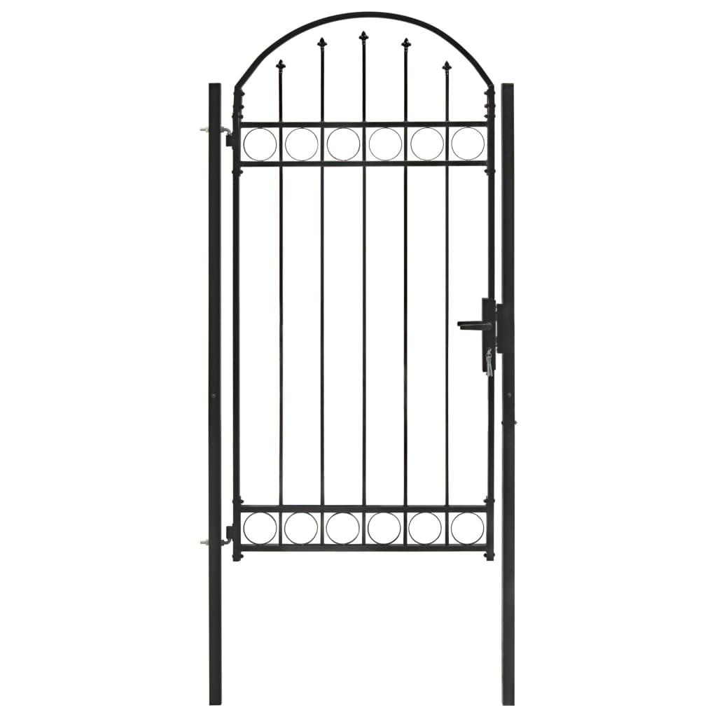 vidaXL Poartă de gard cu arcadă, negru, 100 x 200 cm, oțel imagine vidaxl.ro