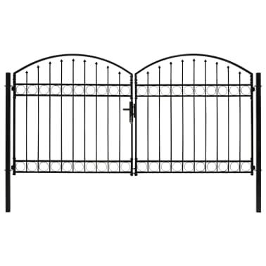vidaXL Poort met gebogen bovenkant dubbel 300x150 cm staal zwart[1/4]
