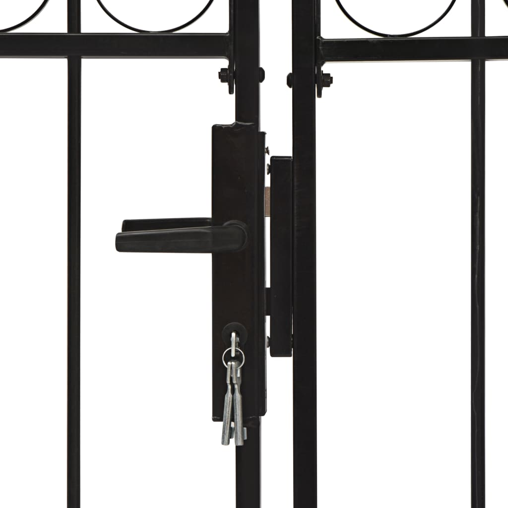 vidaXL Poort met gebogen bovenkant dubbel 300x150 cm staal zwart