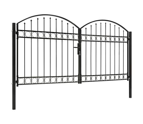 vidaXL Poort met gebogen bovenkant dubbel 300x150 cm staal zwart[2/4]