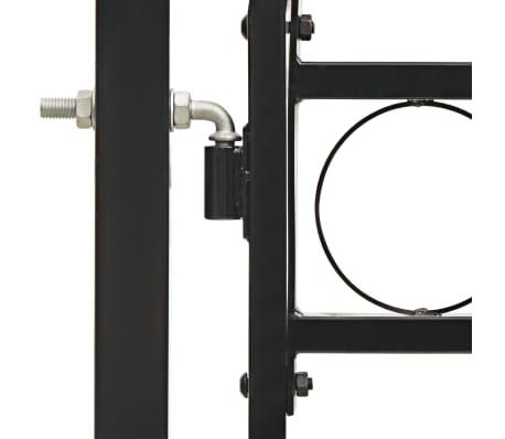 vidaXL Poort met gebogen bovenkant dubbel 300x150 cm staal zwart[3/4]