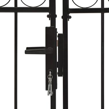 vidaXL Poort met gebogen bovenkant dubbel 300x150 cm staal zwart[4/4]
