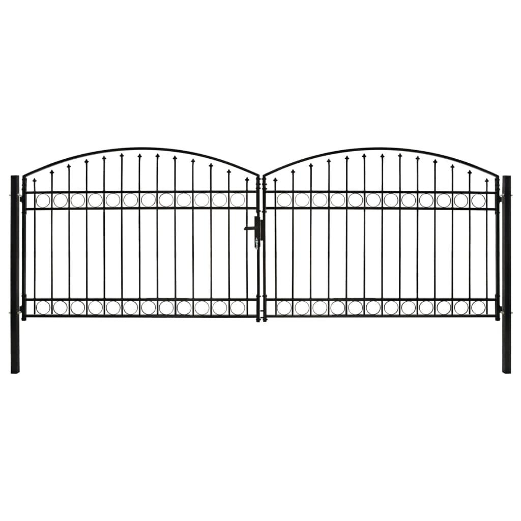 vidaXL Poartă de gard dublă cu arcadă, negru, 400 x 125 cm, oțel imagine vidaxl.ro