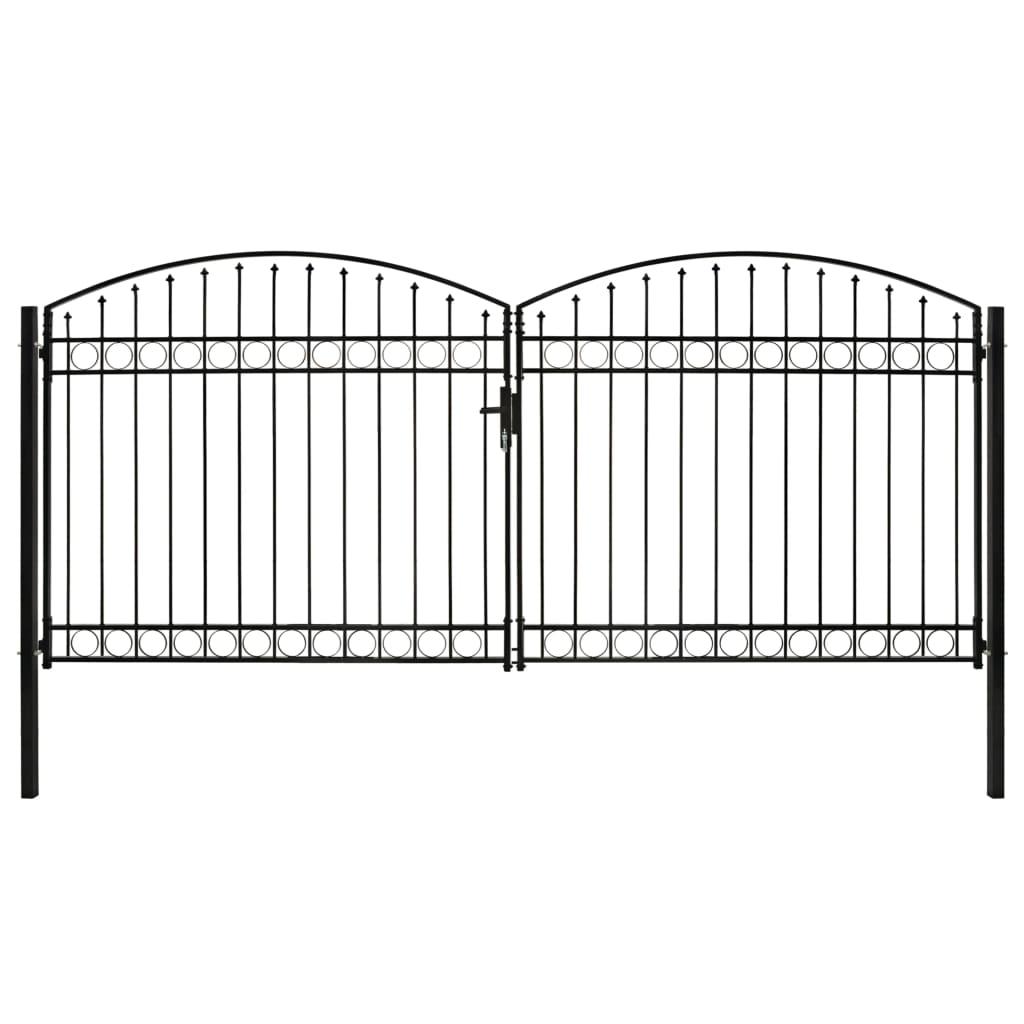 vidaXL Poartă de gard dublă cu vârf în arcadă, negru, 400x200 cm, oțel vidaxl.ro