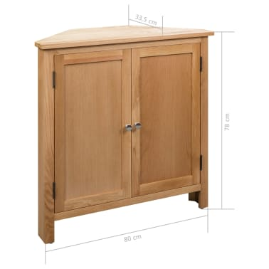 vidaXL Dulap de colț, 80 x 33,5 x 78 cm, lemn masiv de stejar[8/8]