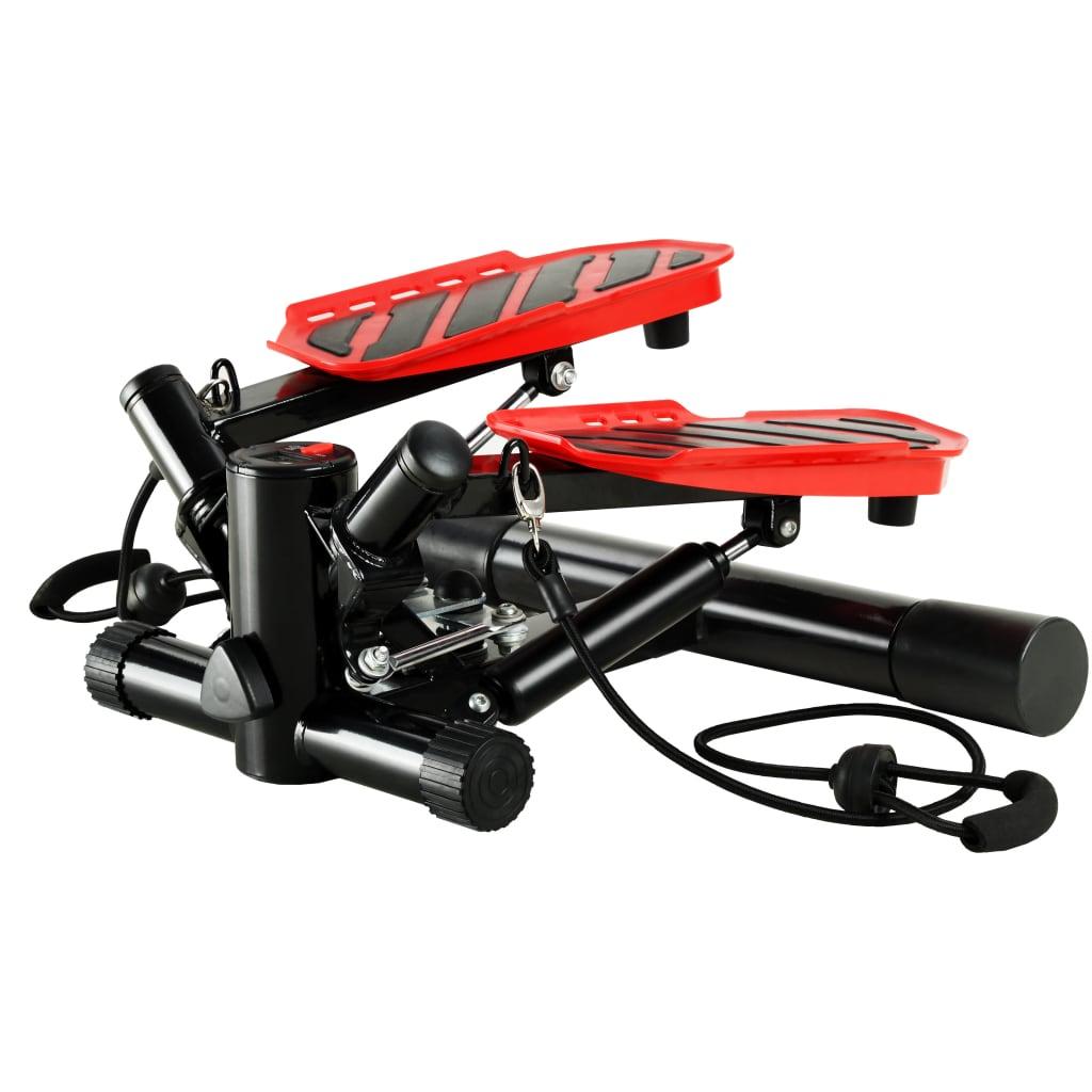 vidaXL Stepper Swing cu corzi de rezistență, negru și roșu poza vidaxl.ro