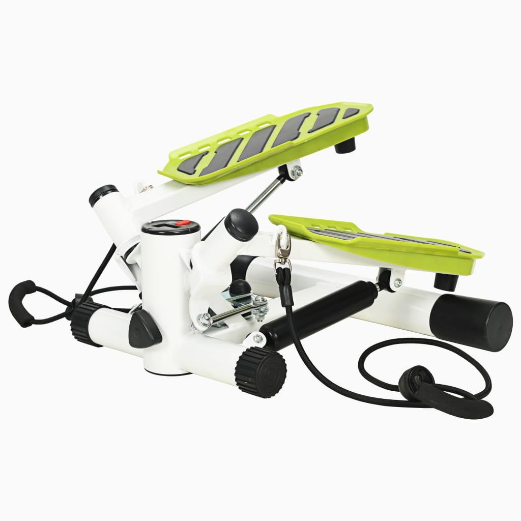 vidaXL Stepper Swing cu corzi de rezistență, alb și verde poza vidaxl.ro