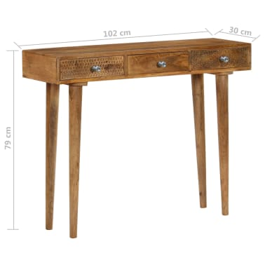 vidaXL Table console Bois de manguier massif 102 x 30 x 79 cm[8/13]
