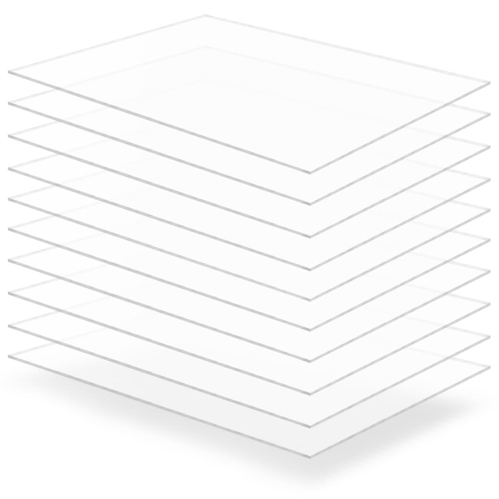 Průsvitné desky z akrylátového skla 10 ks 60 x 80 cm 2 mm