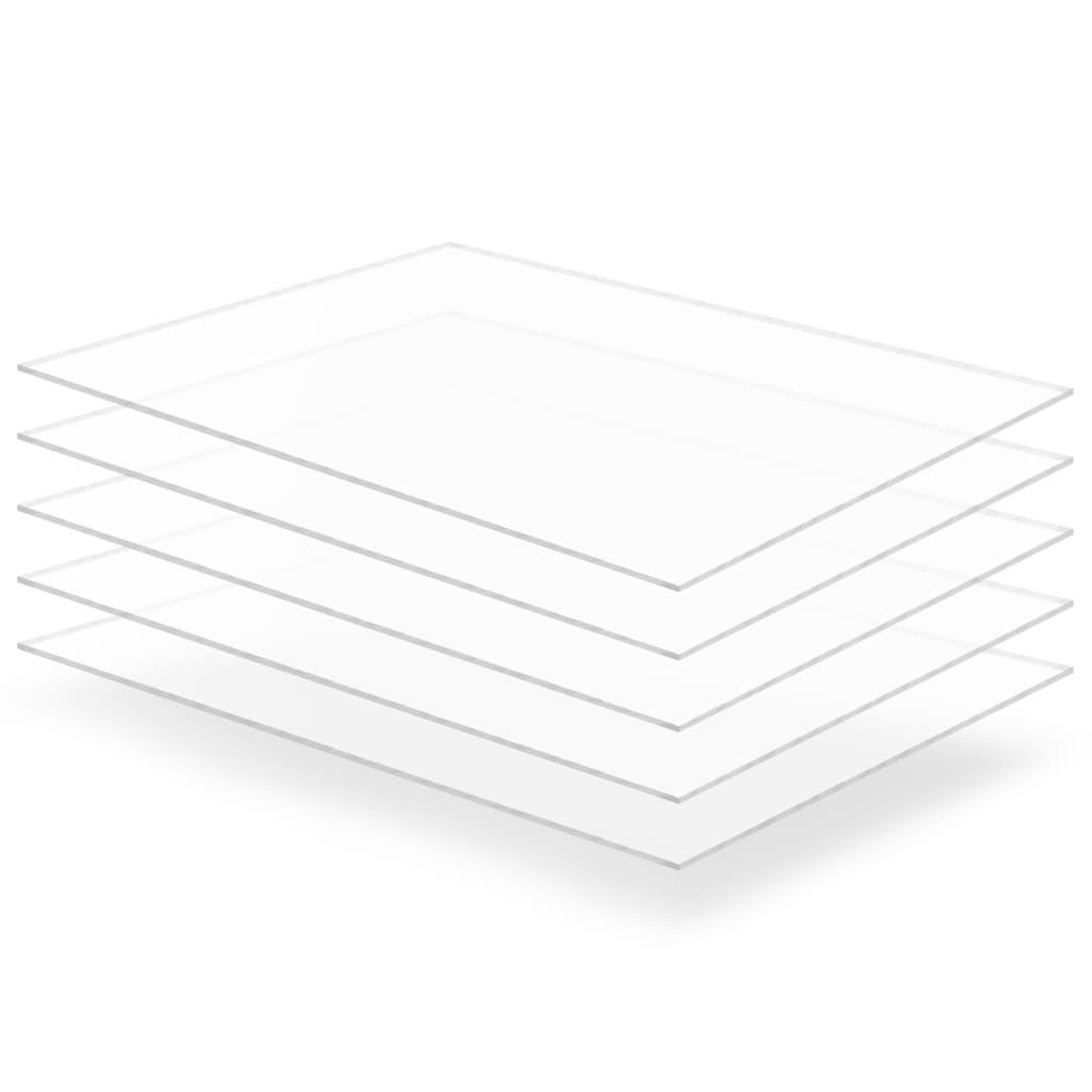 Průsvitné desky z akrylátového skla 5 ks 60 x 80 cm 3 mm