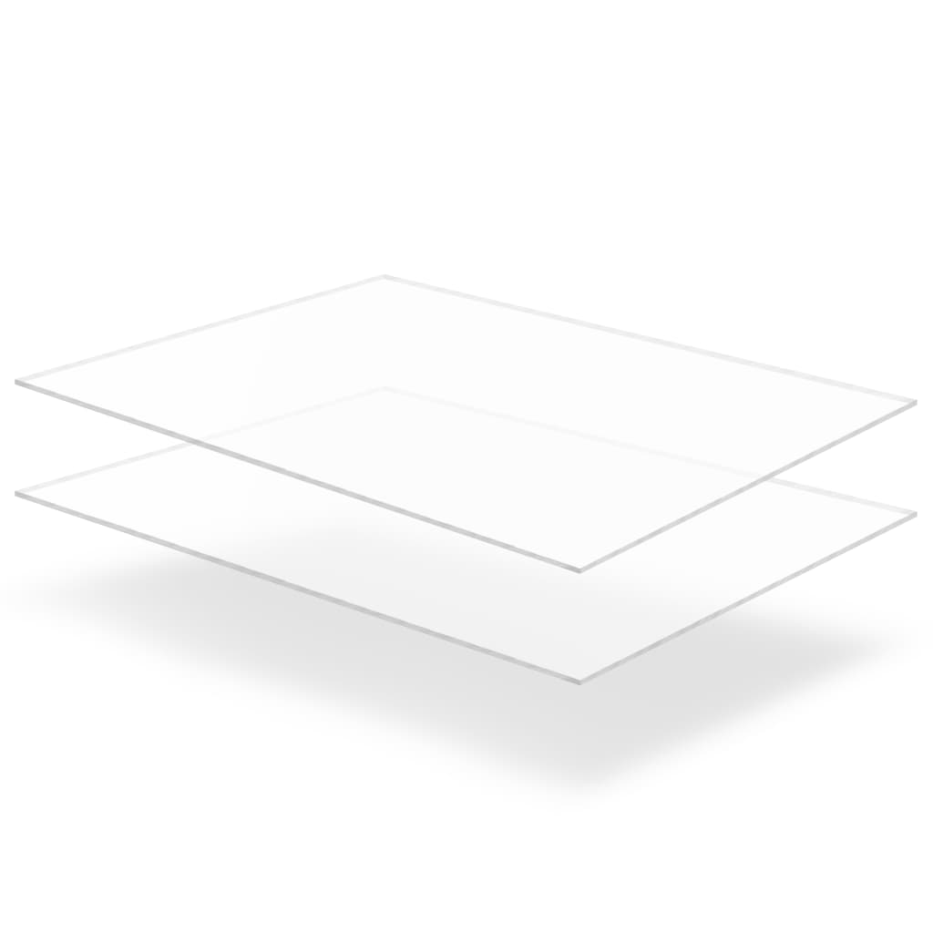 vidaXL Plăci din sticlă acrilică transparentă, 2 buc., 60x80 cm, 6 mm vidaxl.ro